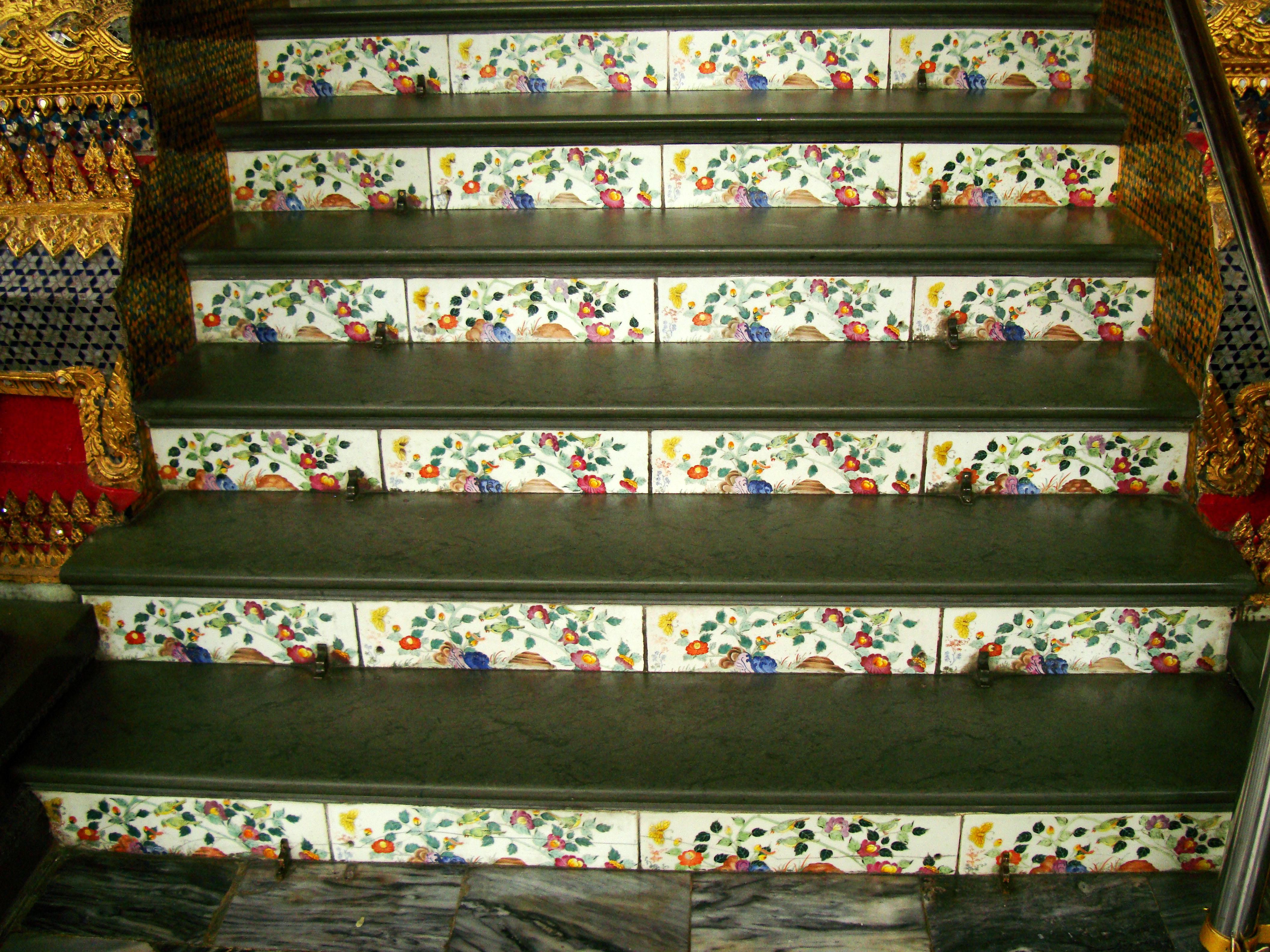 Grand Palace beautifully designed Chinese Mosaic tiles Bangkok Thailand 05