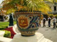 Asisbiz Grand Palace beautifully designed Chinese Mosaic flower pots Bangkok 01