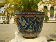 Asisbiz Grand Palace beautifully designed Chinese Mosaic flower pots Bangkok 03