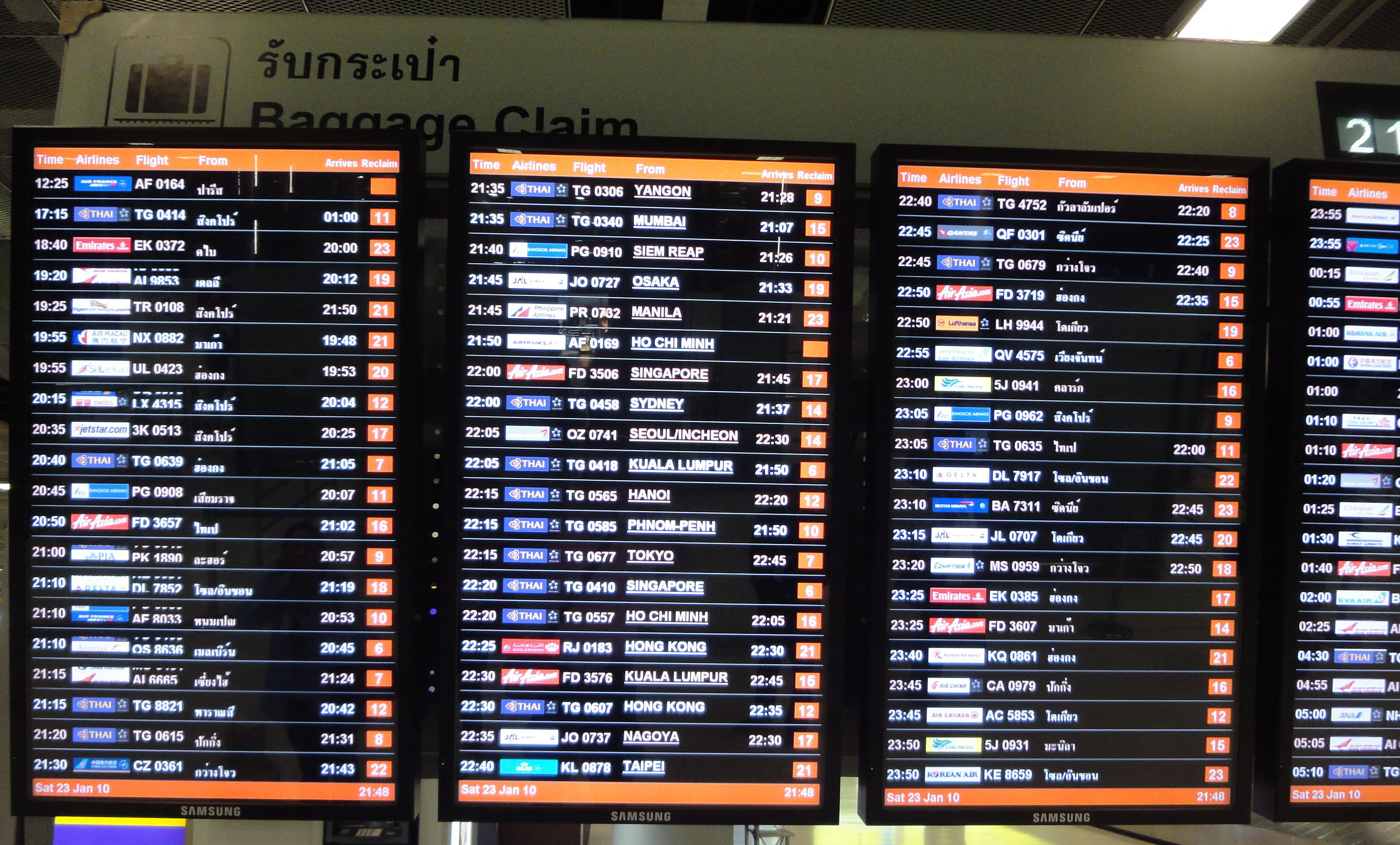 Flight Arival and Departure boards Suvarnabhumi Airport Thailand 2009 01