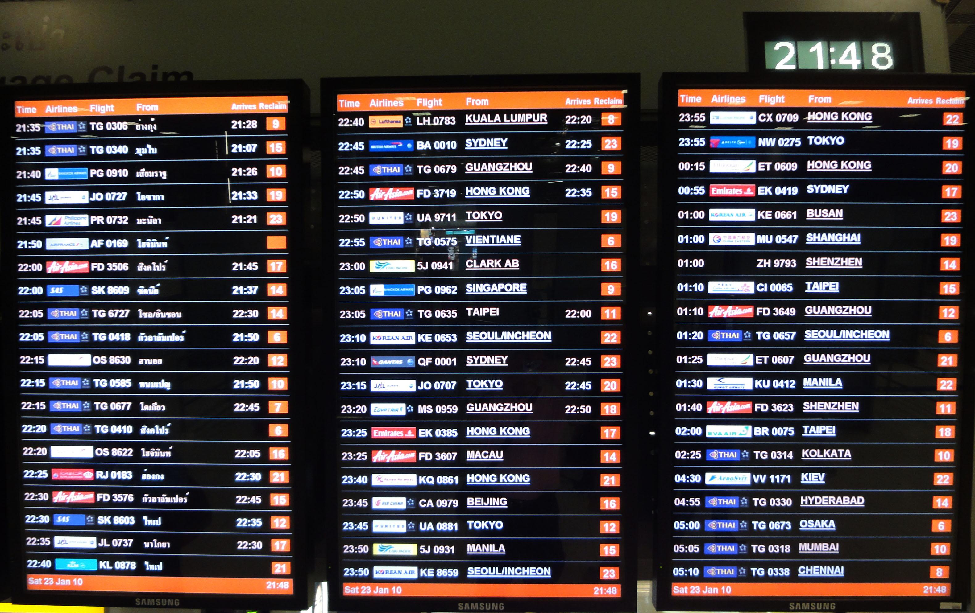 Flight Arival and Departure boards Suvarnabhumi Airport Thailand 2009 02