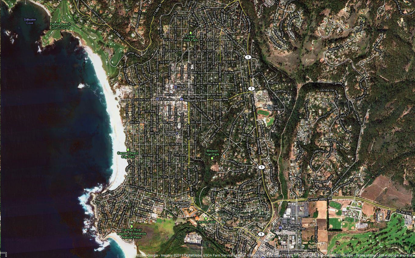 0 Satelite Map Carmel Beach Monterey California 01jpg