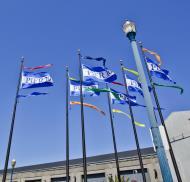 Asisbiz Fishermans Wharf Pier 39 entrance flags San Francisco Bay area CA 02