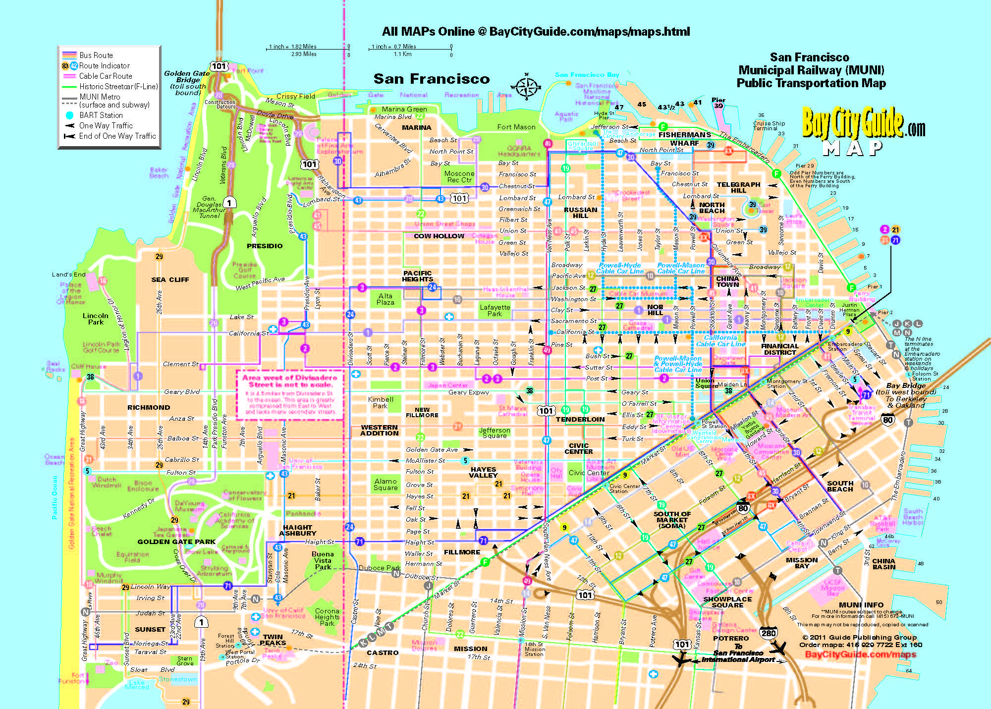 Asisbiz 0 Tourist Map San Francisco Muni Bus System 0A