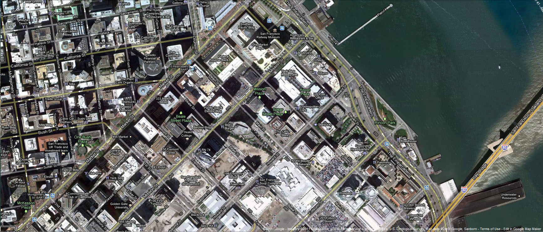 00 The Embarcadero San Francisco California satelite map 01
