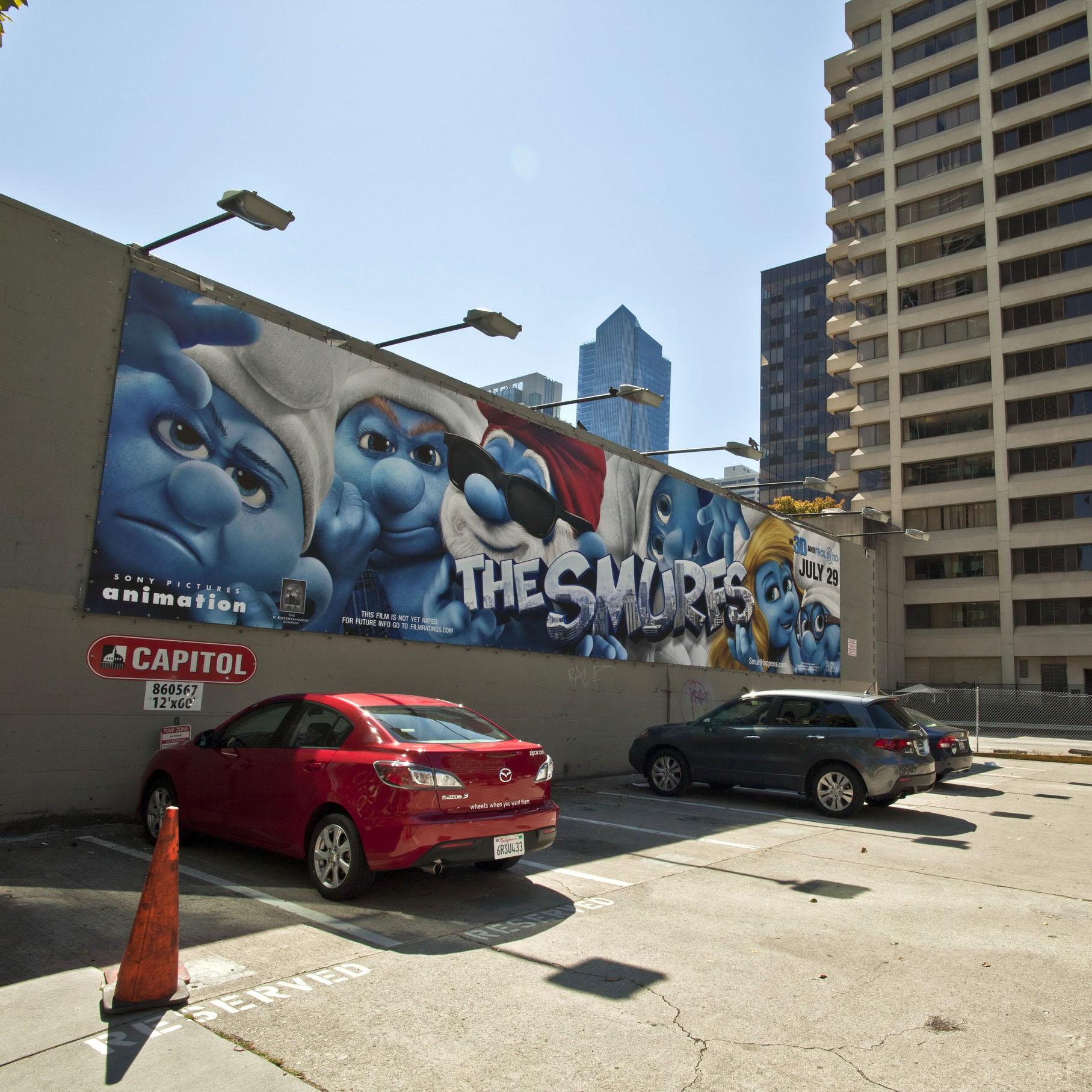 Advertising billboard The Smurfs along Folsom St San Francisco CA July 2011 01