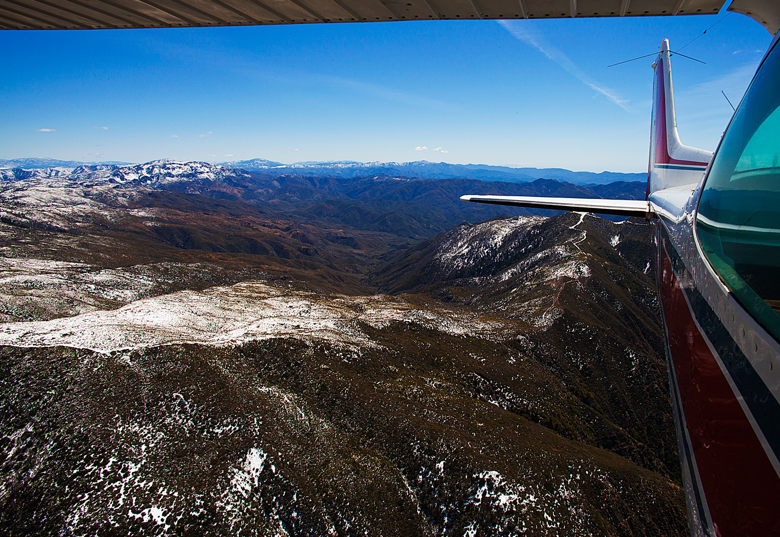 Flying over the snow covered San Rafael Mountain Range 6,820 ft California May 2012 01