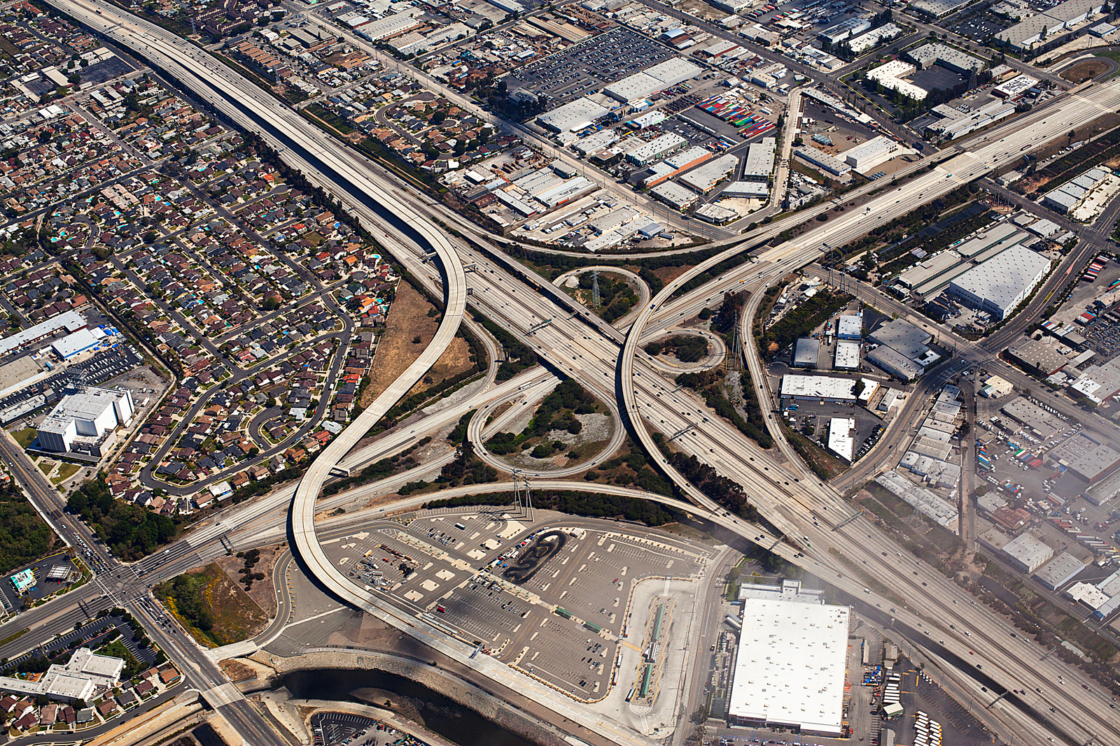 Taken at 2,000 feet the iconic American Freeway system Harbor Fwy 110 and Gardena Fwy California 01