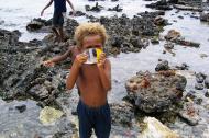 Asisbiz Kids playing on the reef Espiritu Santo Vanuatu 04