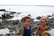 Asisbiz Kids playing on the reef Espiritu Santo Vanuatu 06