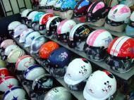 Asisbiz Vietnam Ho Chi Minh City motorbike helmet fashion Feb 2009 02