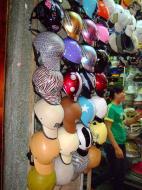 Asisbiz Vietnam Ho Chi Minh City motorbike helmet fashion Feb 2009 04