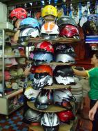 Asisbiz Vietnam Ho Chi Minh City motorbike helmet fashion Feb 2009 05