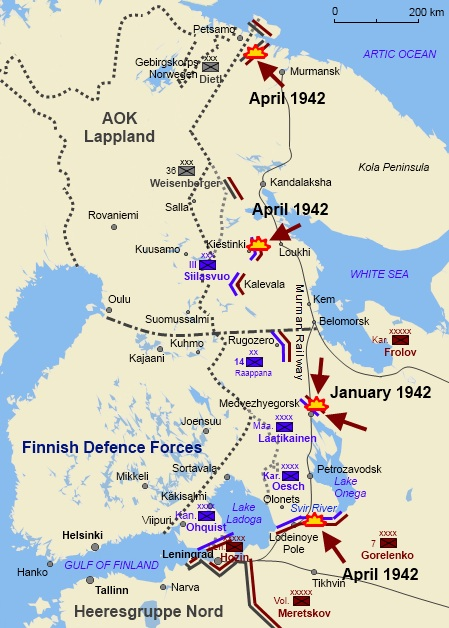 The Soviets conducted four attacks in the first half of 1942, all of which were repelled by Finnish–German defenders
