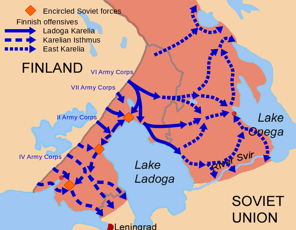 Subphases of the Finnish invasion of Karelia during the 1941 general offensive. The old 1939 border is marked in grey.
