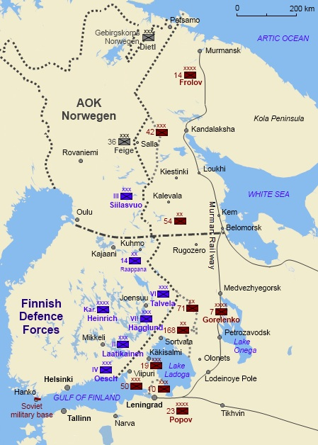 Finnish, German and Soviet military formations at the start of the Continuation War in June and July 1941