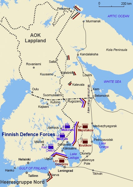 The front lines on 4 September 1944 when the ceasefire came into effect and two weeks before the war concluded