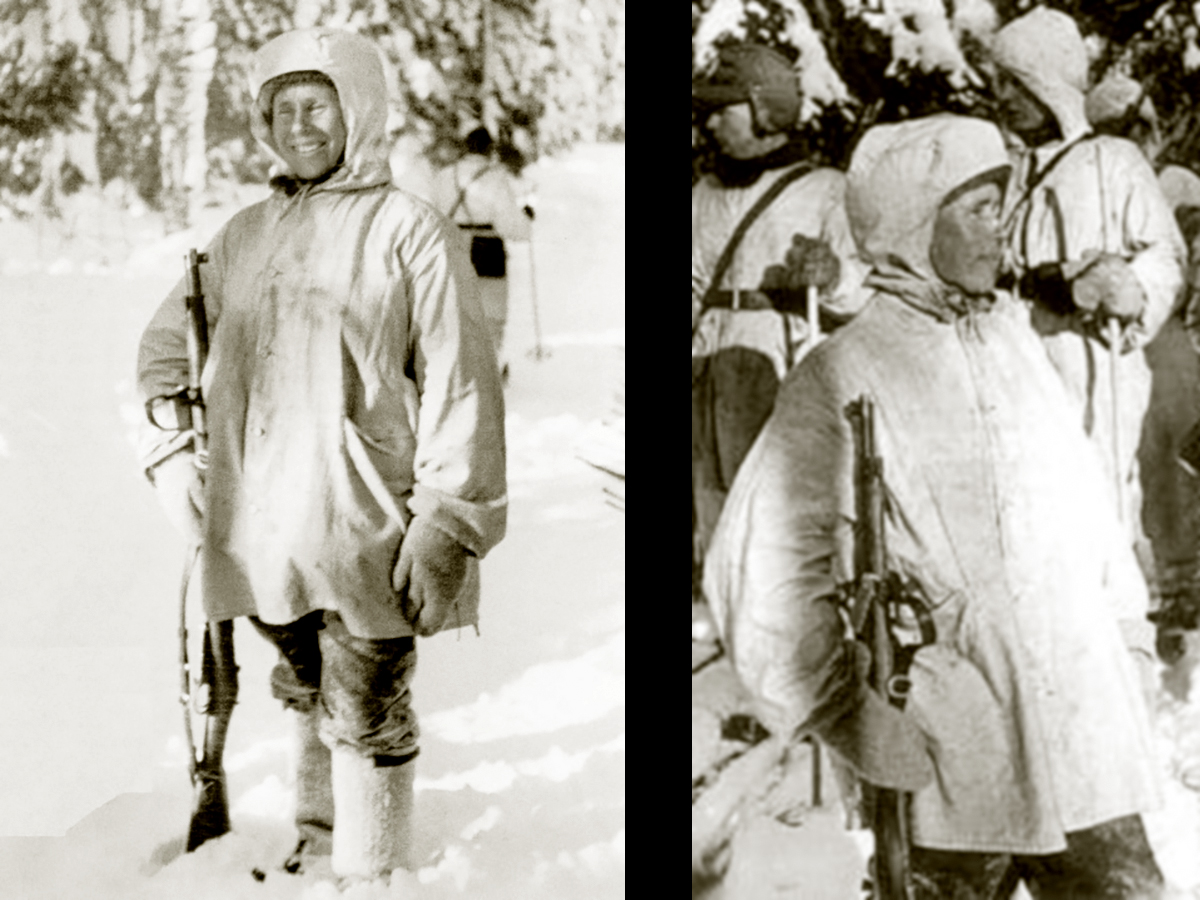 Häyhä after being awarded the honorary rifle, model 28, on 17 February 1940