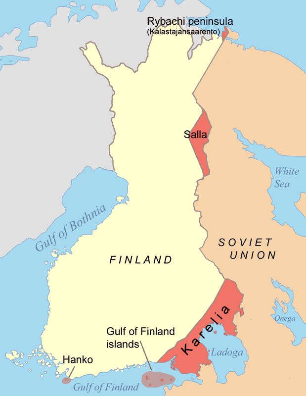 Diagram of Finland's territorial concessions to the Soviet Union displayed in red