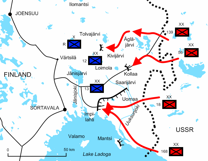 Diagram of Soviet offensives at the start of the war illustrating the positions of the four Soviet armies and their attack routes.