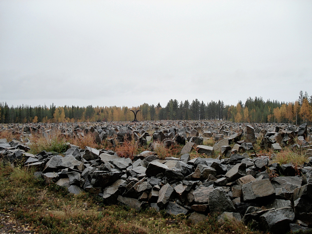 A Winter War monument at Suomussalmi, Finland, containing a rock for every soldier who died at the Battle of Suomussalmi: 750 Finnish and an estimated 24,000 Soviet