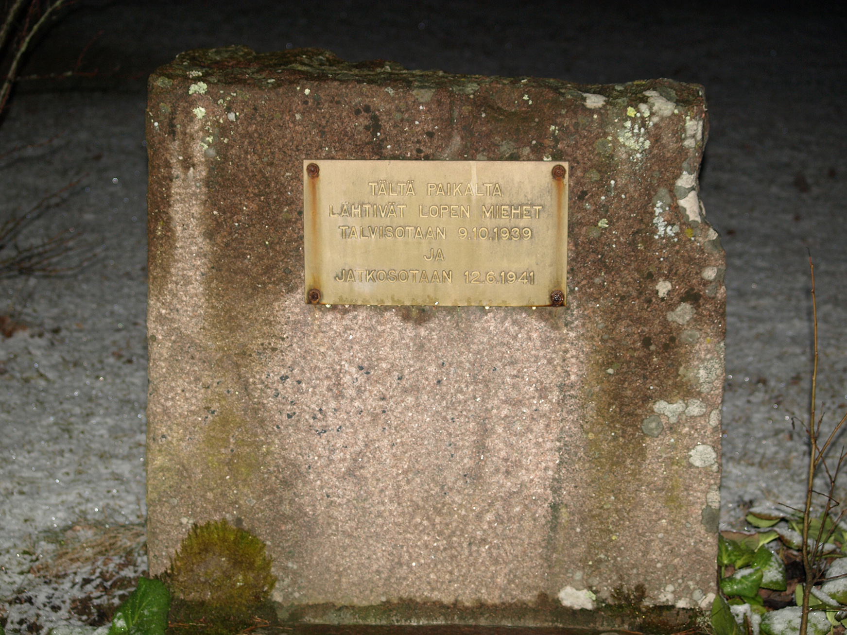 The memorial stone for the soldiers of the Winter War and the Continuation War in Loppi, Finland