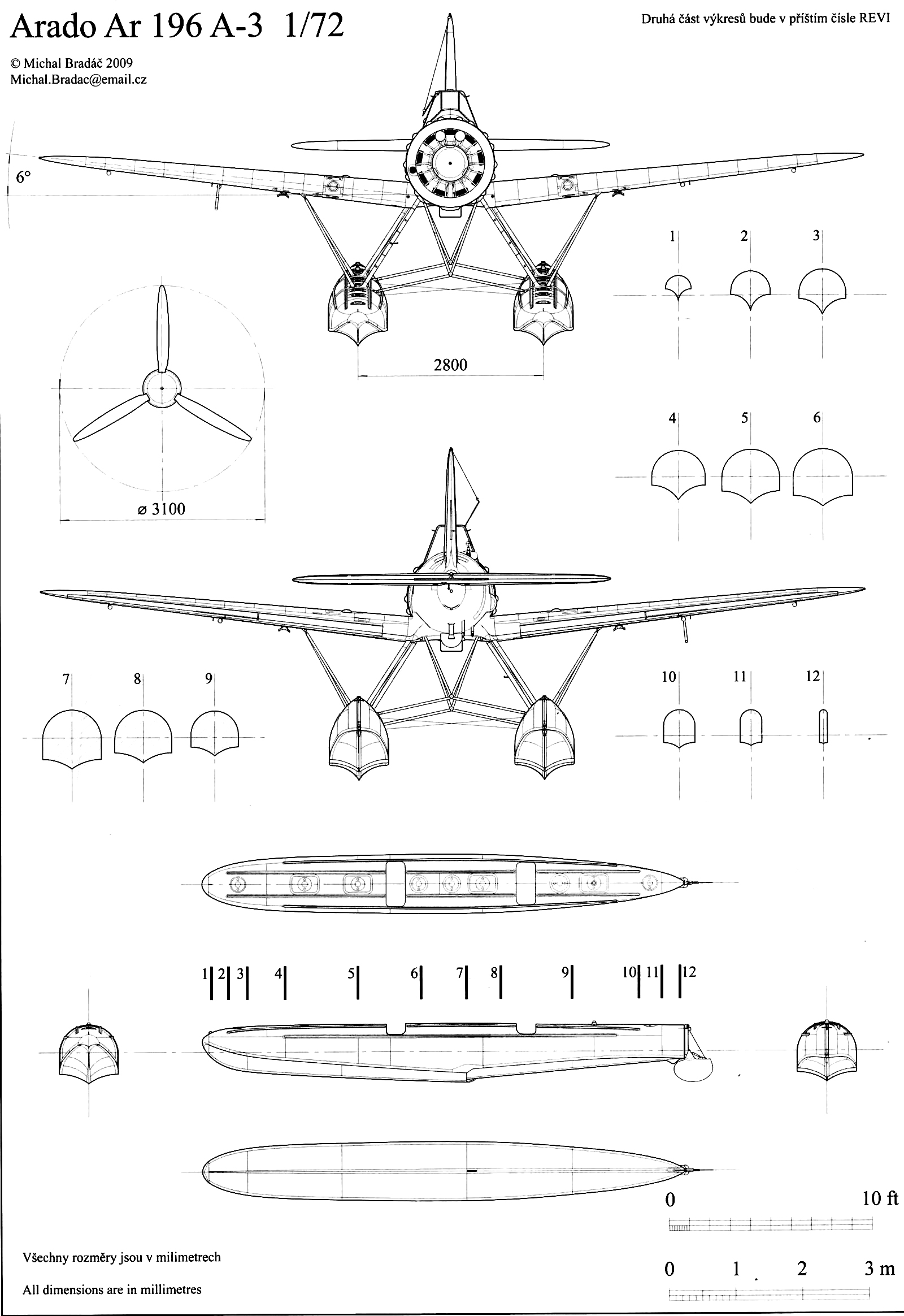 aircraft technical drawing of arado ar 196a3 in 172 scale