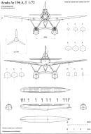 Asisbiz Aircraft technical drawing of Arado Ar 196A3 in 1.72 scale by Michal Bradac 0C