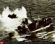 Asisbiz Kriegsmarine German Naval Ship UJ2104 Darvik under attack by RAF Beaufighter Mediterranean 1943