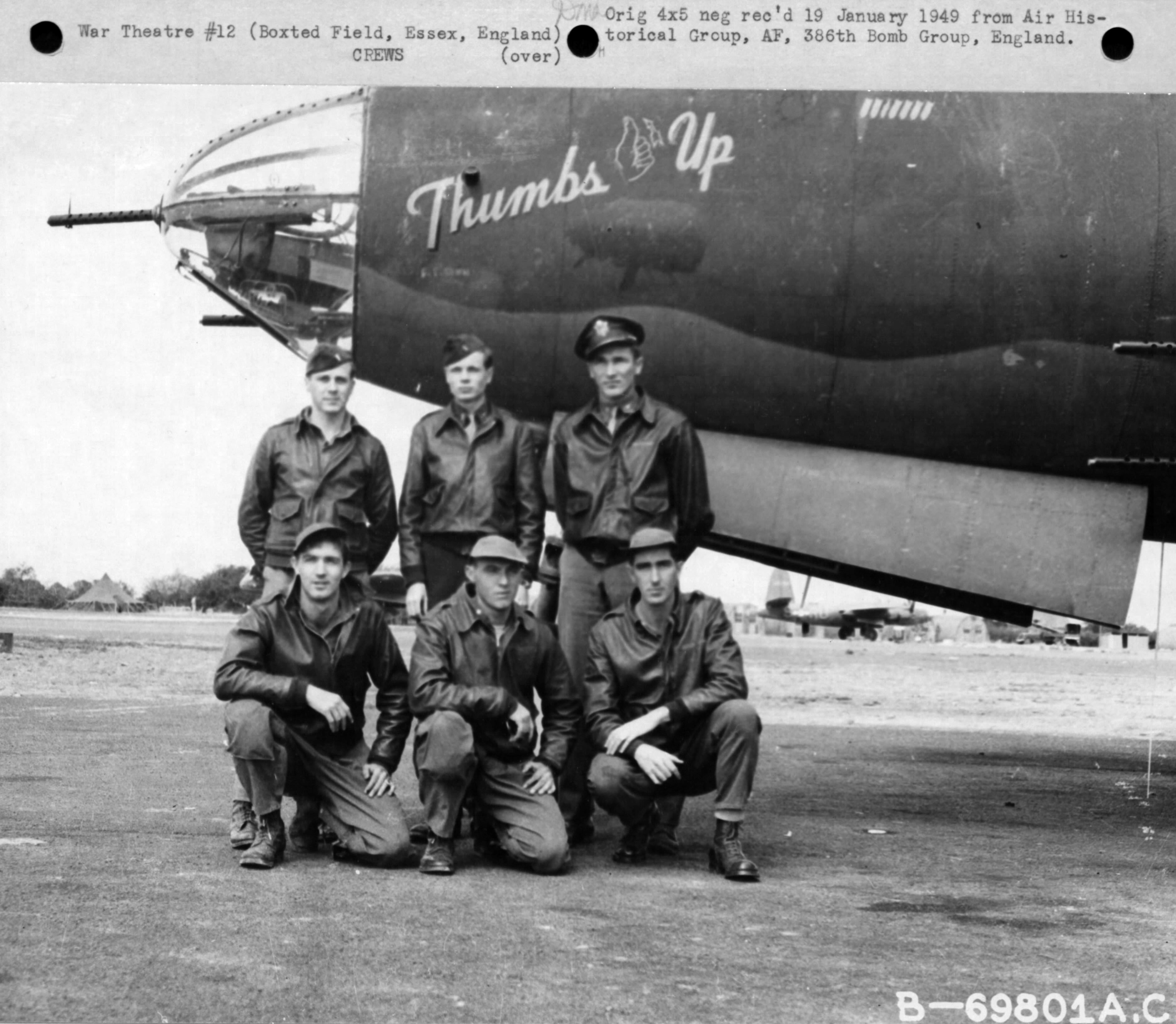 USAAF 41 31621 B 26B Marauder 386BG554BS RUP Thumbs Up crew England 01