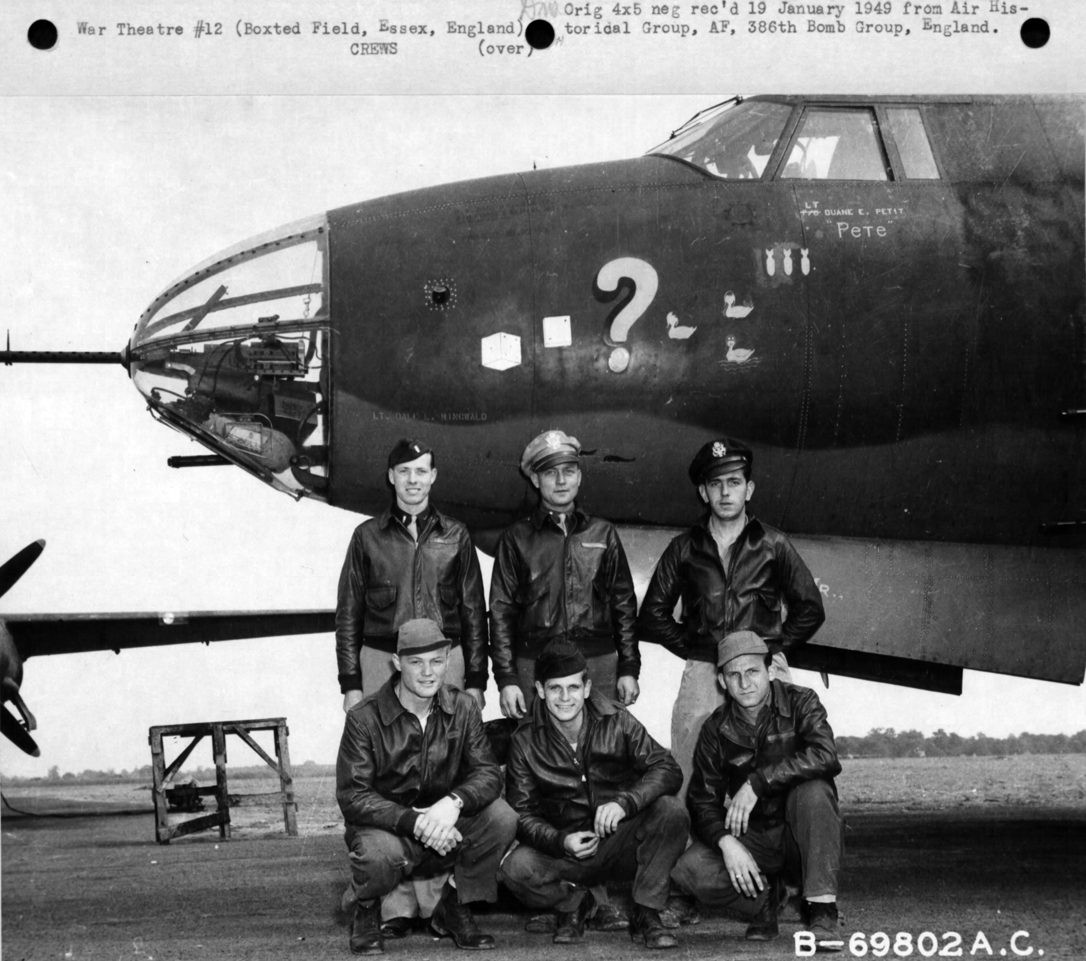 USAAF 41 31635 B 26B Marauder 386BG554BS RUO Question Mark Lt Duane E. Petit England 1943 01