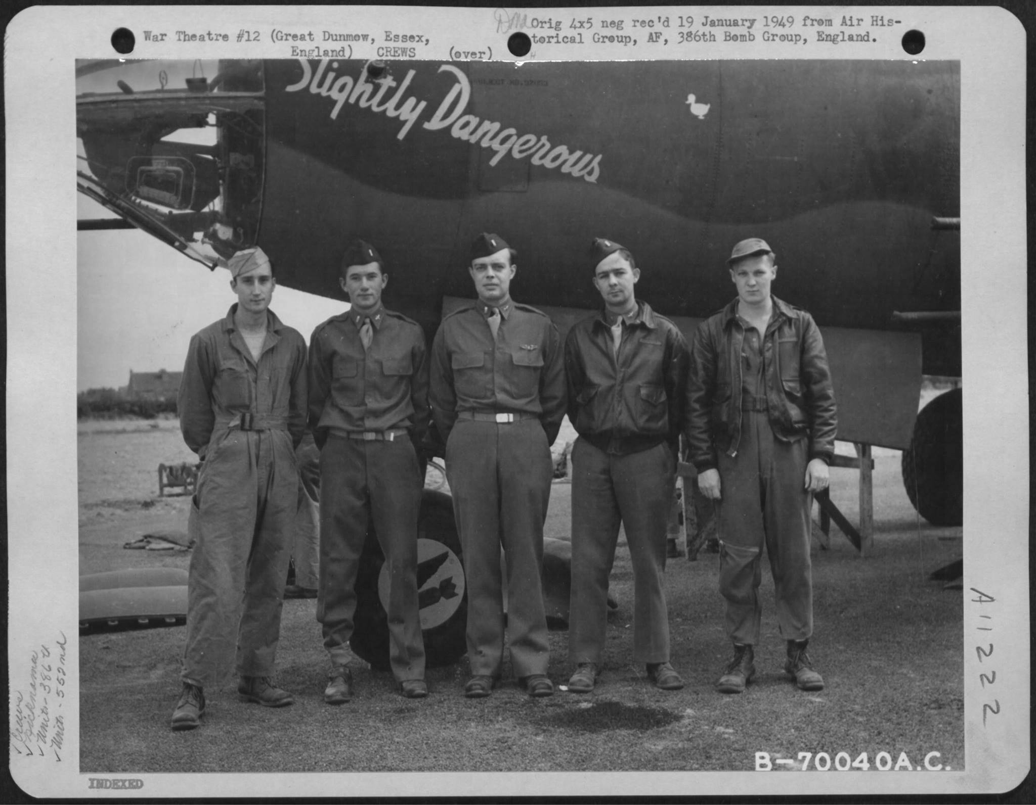 USAAF 41 31741 B 26B Marauder 386BG552BS RGD Slightly Dangerous with crew Great Dunmow Essex Engalnd 1 Sep 1943 01