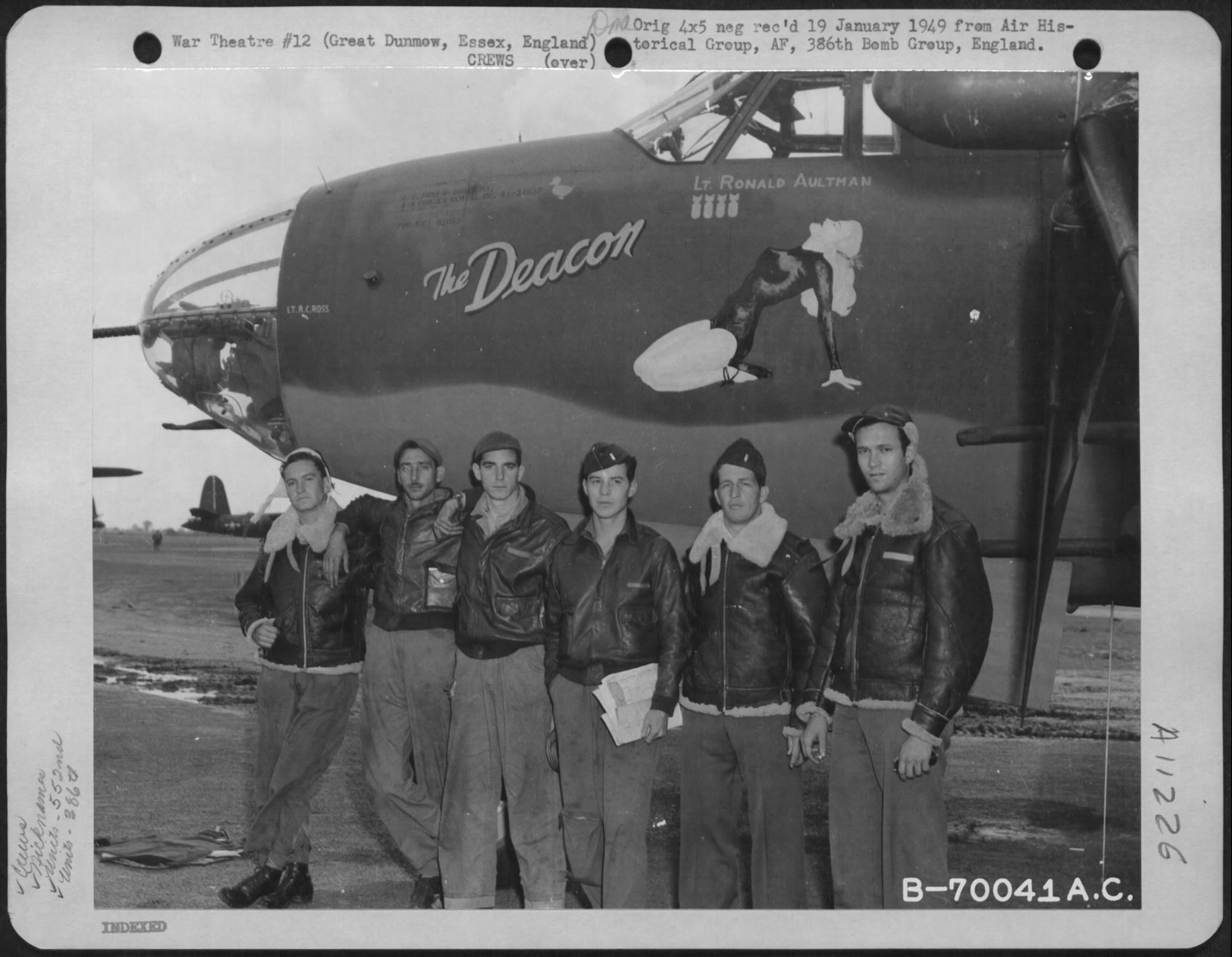 USAAF 41 31850 B 26B Marauder 386BG552BS RGS The Deacon with crew Great Dunmow Essex England 2 Sep 1943 01