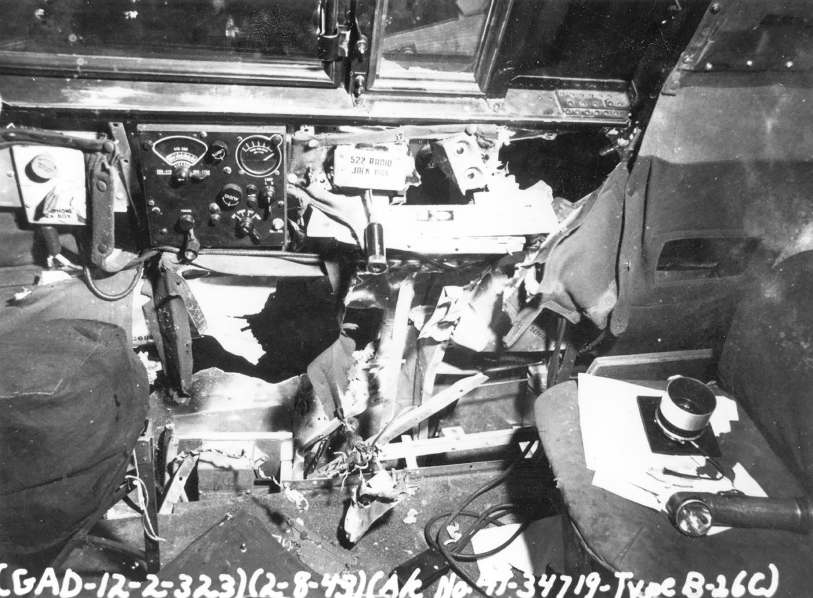 USAAF 41 34719 B 26C Marauder 323BG455BS YUA Miss Emily battle damage cockpit England 2 Aug 1943 02