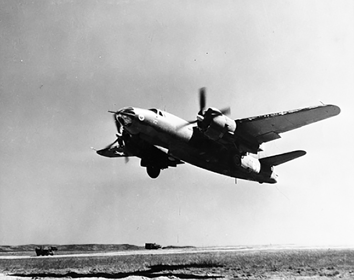 USAAF 41 34855 B 26C Marauder 320BG442BS 20 Lady Eve lifts off the strip in North Africa 01