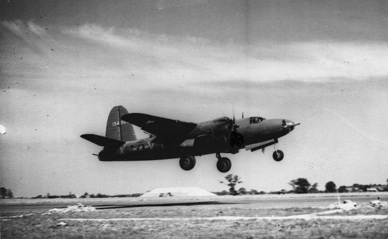 USAAF 41 34865 B 26C Marauder 323BG453BS VTX Wolf Pack II taking off England 19 Aug 1943 01