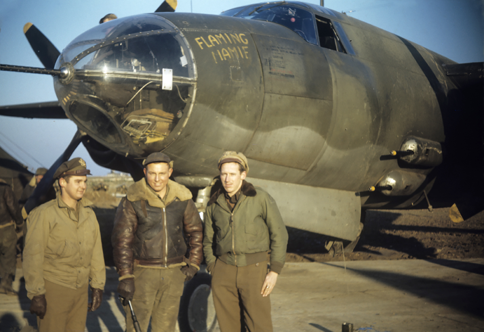 USAAF 41 34997 B 26C Marauder 323BG454BS RJP Flaming Mamie with 2Lt William Phelan and Lt George Spradling 01