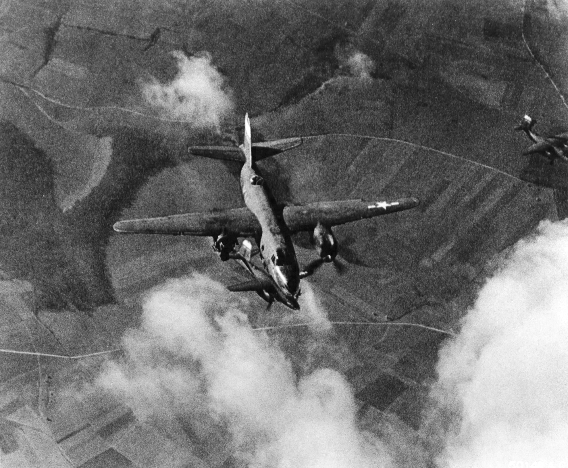 USAAF 41 35000 B 26C Marauder 323BG455BS YUR Swamp Chicken hit by flak over France 55 Feb 1944 MACR 2056 03