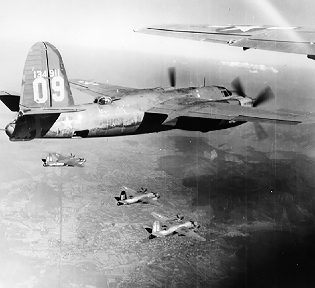 USAAF 42 107754 B 26C Marauder 320BG441BS 01 Miss Minneapolis in formation foreground 01