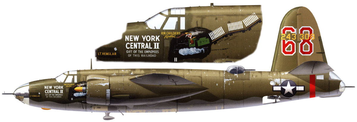 USAAF 42 43308 B 26B Marauder 17BG95BS 68 The New York Central II Sardinia Jul 1944 0A