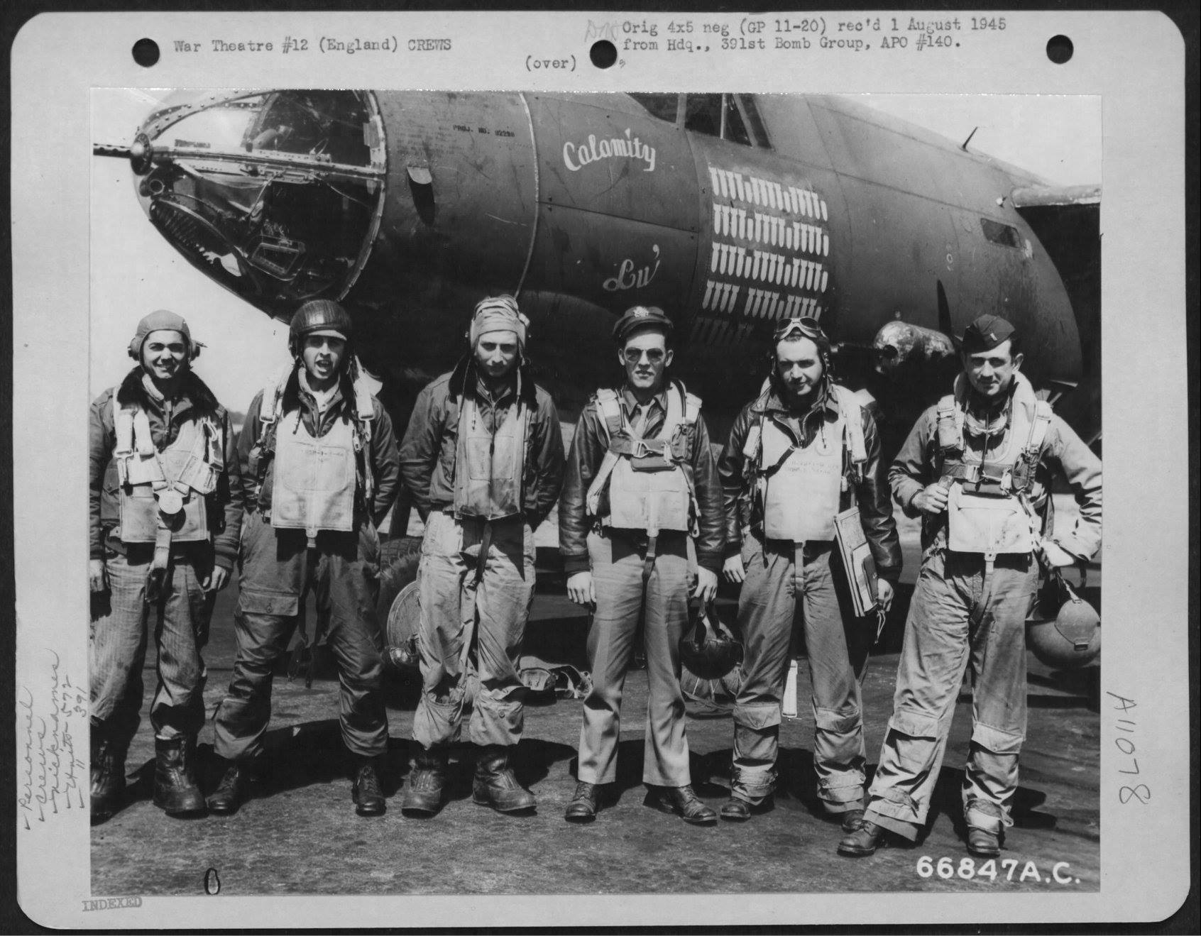 USAAF 42 95830 B 26B Marauder 391BG573BS T6M Calamity Lu with Lt Walker and crew England 9 Aug 1944 01
