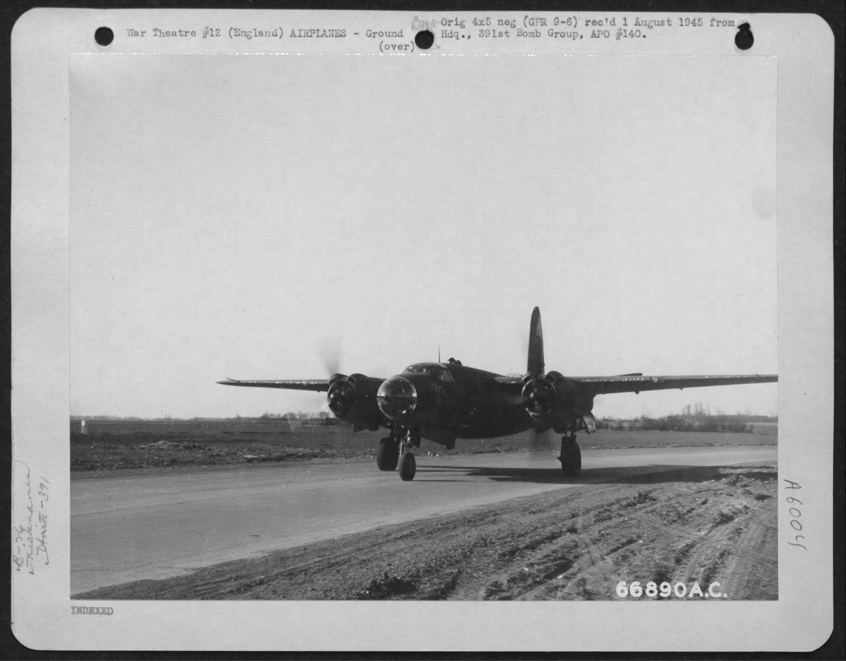 USAAF 42 95836 B 26B Marauder 391BG572BS P2N McCartys Party warms up for take off England 8 March 1944 01