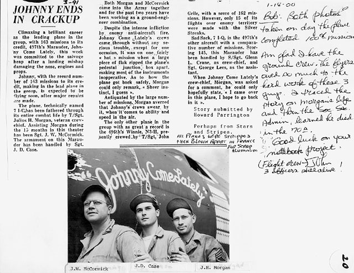 USAAF 42 95896 B 26B Marauder 344BG497BS 7IC Johnny Come Lately article 0A