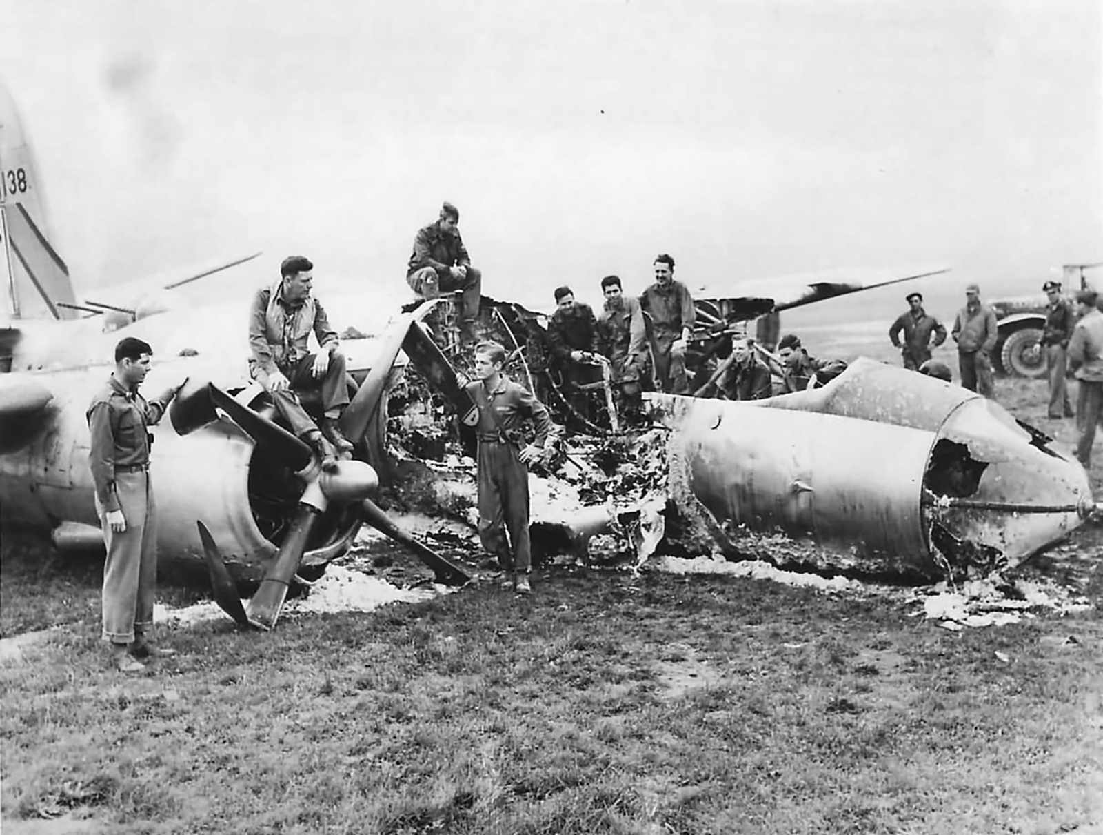 USAAF 42 96138 B 26B Marauder 397BG598BS U2C By Golly belly hit by fighters landed and burned France 9 Jul 1944 01