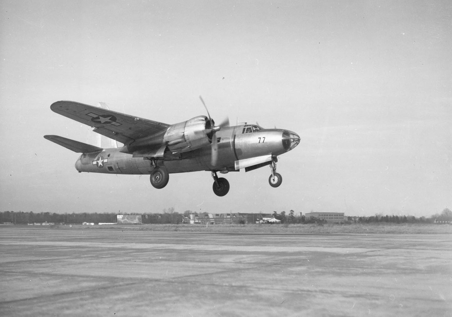 USAAF 42 96234 B 26F Marauder top turret removed landing 4 Feb 1946 01