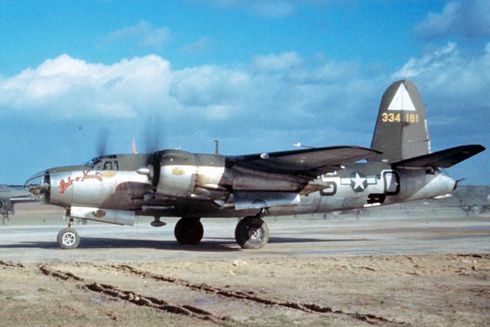 USAAF 43 34181 B 26G Marauder 344BG495BS Y5O Lak a Nookie prepares for take off 02