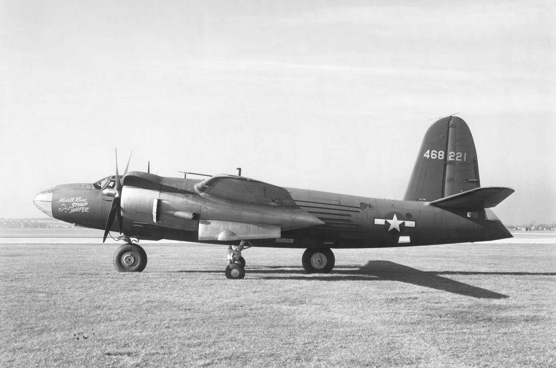 USAAF 44 68221 XB 26H Marauder modified landing gear tests 1944 07