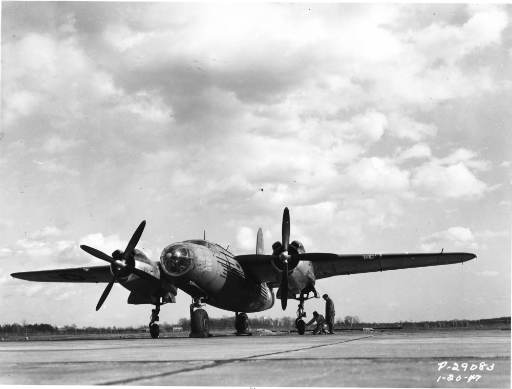 USAAF 44 68221 XB 26H Marauder modified landing gear tests 1944 09