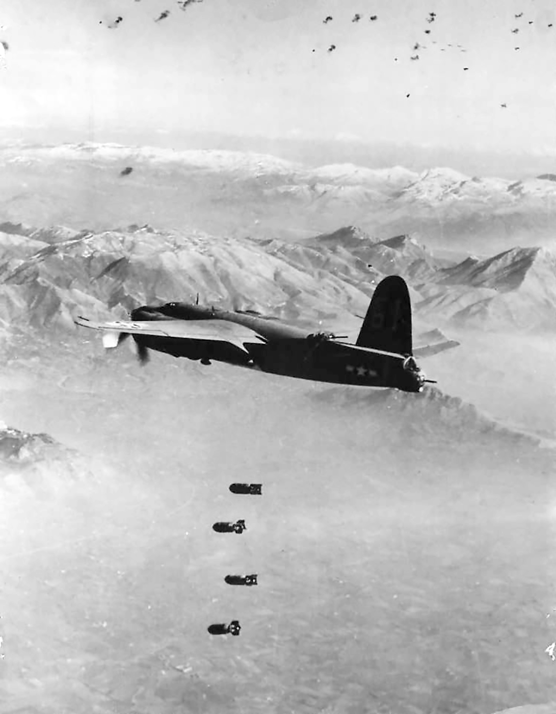 USAAF B 26 Marauder 12AF at the drop point during raid on Ceprano 1944 01