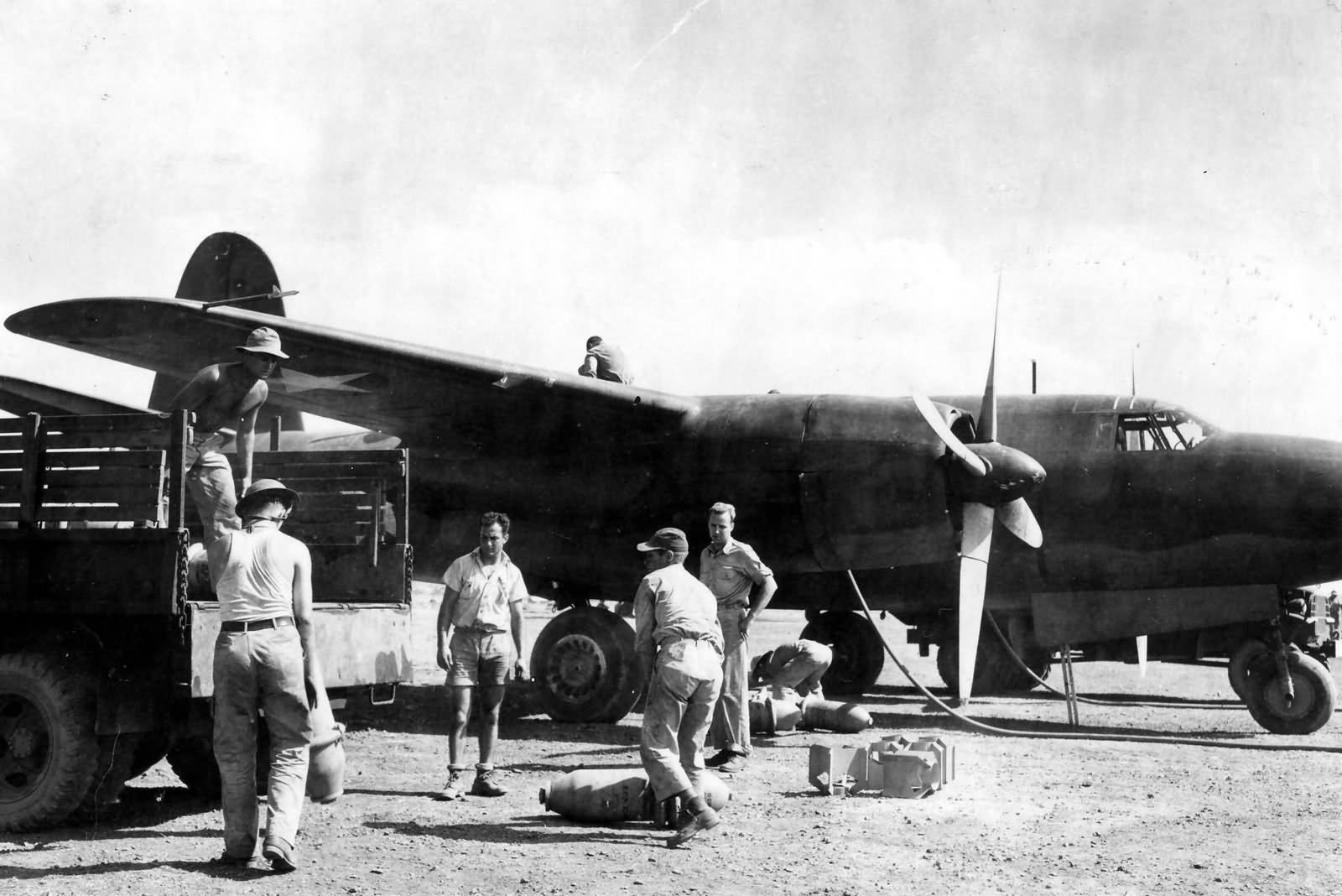 USAAF B 26 Marauder 22BG being rearmed at Port Moresby 7 Mile Drome New Guinea 1942 01